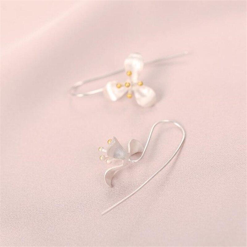 2018 Fashion Element 925 Sterling Silver Elegant Leaf Flowers Long Tassel Earrings For Women Silver 925 Jewelry Oorbellen E337