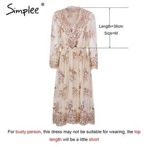 Image 5 - Simplee V neck long sleeve sequined party dresses women Sexy mesh streetwear midi dress female 2018 spring black dress vestido