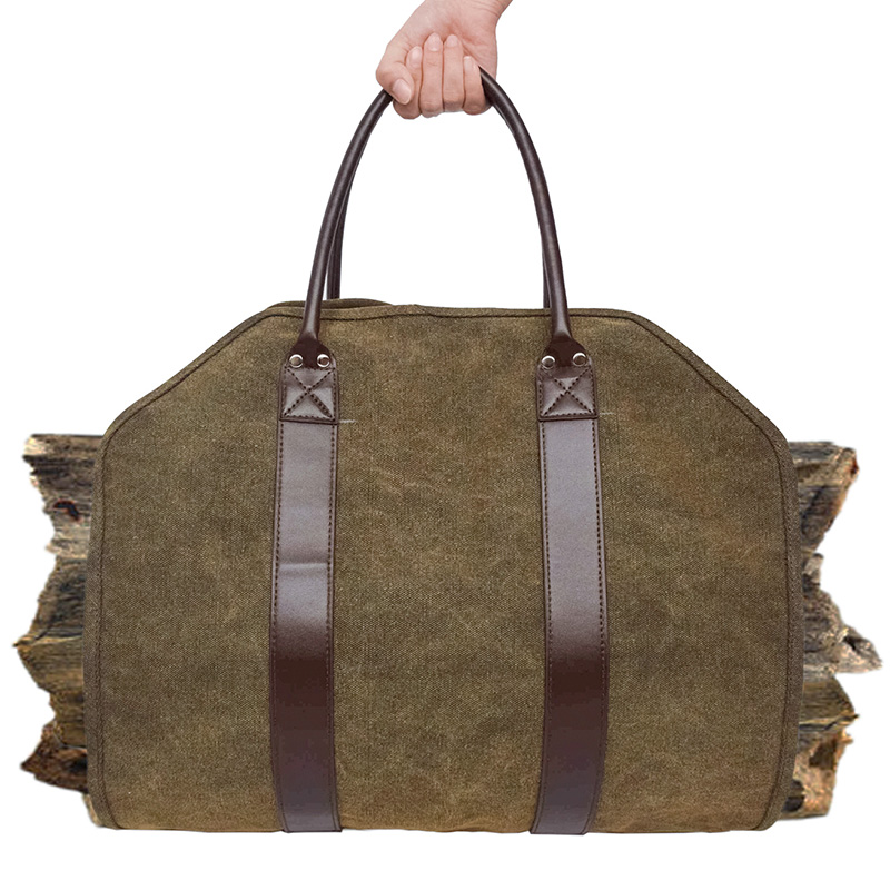 Outdoor Leather Tote Camping Carry Bag Canvas Firewood Carrier Log Storage Bag Package Handles Bag Firewood Bag Home Kitchen S|Outdoor Tools| |  - title=