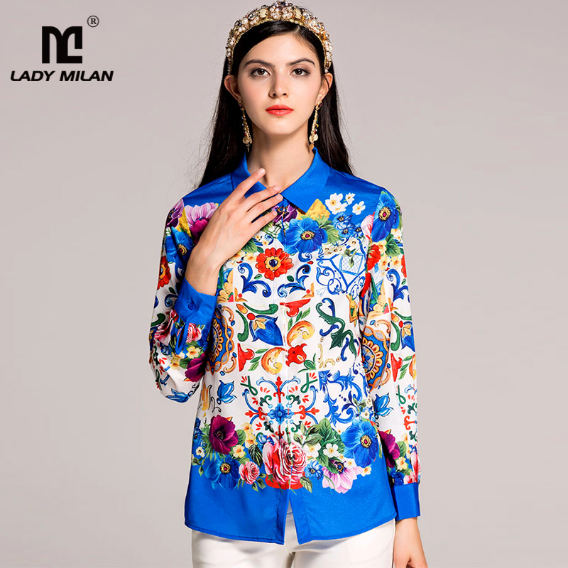 New Arrival 2018 Spring Summer Womens Turn Down Collar Long Sleeves Floral Printed Designer Fashion Casual Shirts in 2 Colors