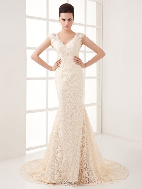 2016 New Winter Simple Champagne Lace Mermaid Wedding Dresses Cap Sleeves V Neck Vintage Women Non
