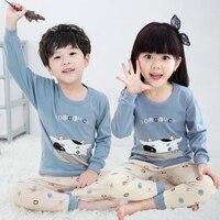 Unisex Cute Kids Clothing Set All Season Cartoon Printed Cotton Children Pajamas Set Plus Size Boys