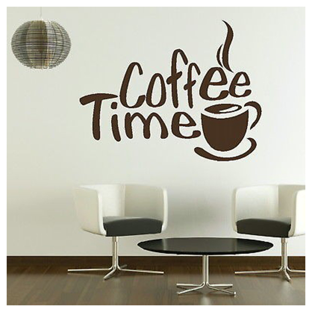 Buy time cafe wall decals murals dining for Mural coffee shop