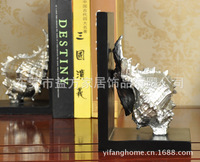 European and American home style conch book by creative bookends wholesale model room Decoration den decorations