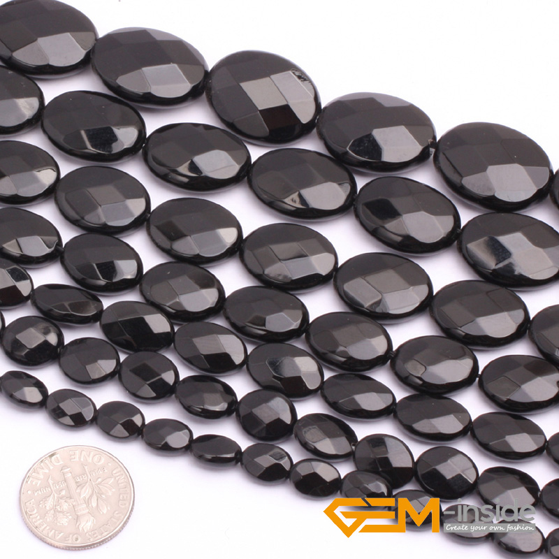 Agat: Flat Olivary Oval Faceted AA Grade Black Agat Beads Natural Stone Bead DIY Loose Bead For Jewelry Making Strand 15