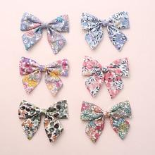 12 teile/los, Baby Mädchen Floral print Sailor Bogen Haar Clips, Floral stoff bogen Nylon stirnbänder, schule Mädchen Bogen haar zubehör