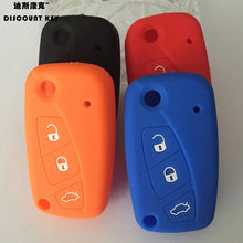 Silicone car key case cover for FIAT Panda  Stilo Punto /Doblo Grande  Bravo 500 Ducato Minibus 3 buttons with loo