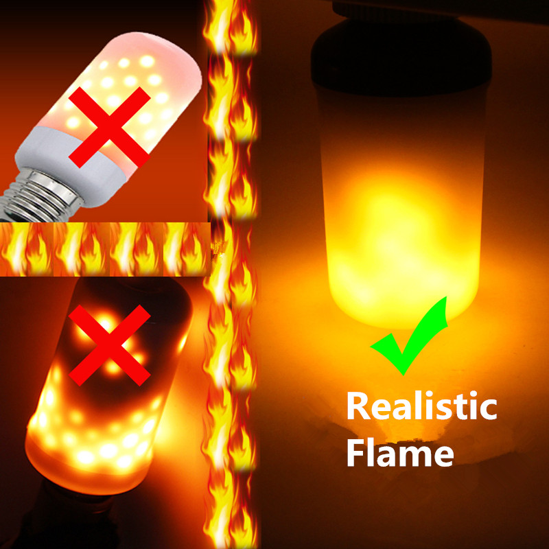 Creative 3 modes+Gravity Sensor Flame Lights E27 E26 E14 LED Flame Effect Fire Light Bulb 7W 9W Flickering Emulation Decor Light