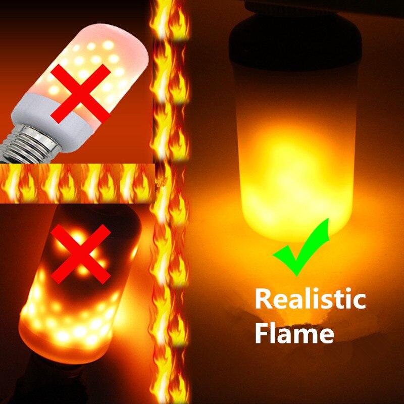 Creativo 3 modalità + Sensore di Gravità Fiamma Luci E27 E26 E14 LED Effetto fiamma Fuoco Luce Della Lampadina 7 W 9 W Flickering Emulazione Decor luce