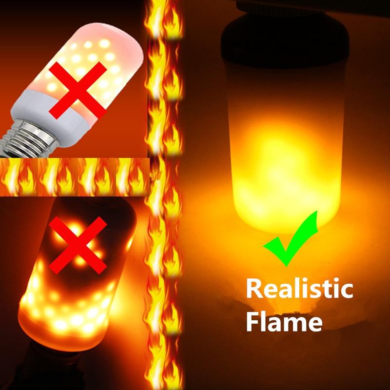 Creativo 3 modos + Sensor de gravedad llama luces E27 E26 E14 LED llama fuego efecto bombilla 7 W 9 w parpadeo emulación Decoración Luz