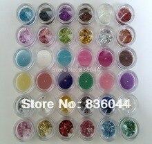36pcs Mix Colors Style Nail Art Glitter Powder Dust Hexagon Strip Spangle Gem Acrylic Gel UV Decoration Manicure