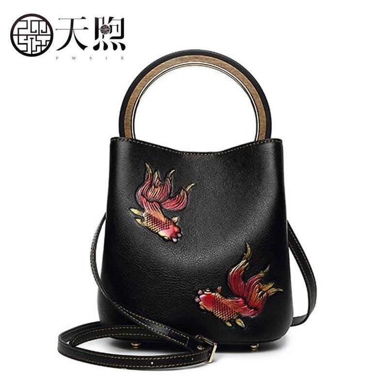 Pmsix2018 new luxury fashion bucket bag large-capacity leather retro handbag shoulder Messenger bag mother bag cheongsam tide