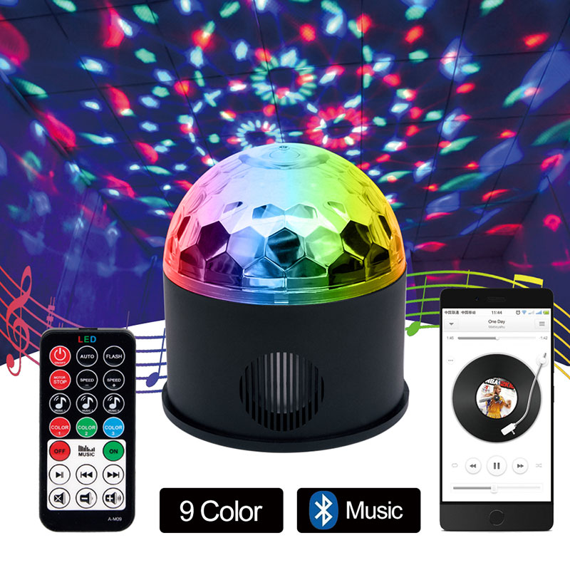 Bluetooth MP3 Crystal Magic Stage lights Remote control 9 colors RGB disco balls lights voice LED magic ball for Parties сетевое зарядное устройство samsung ep ta20ewecgru 2а usb белый
