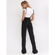 SEXEMARA Black High Waist Wide Leg Pants Casual Lace Up Overalls Women Pant 2018 Summer Fashion Flare Trousers C34-AZ88