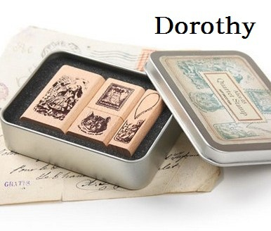 1 Box/pack Retro Vintage DIY Dorothy Quartet Series Diary Wooden Rubber Stamp with Iron Box Clear Stamps For Scrapbooking bulk buy martha stewart clear stamps vintage garden 3 pack
