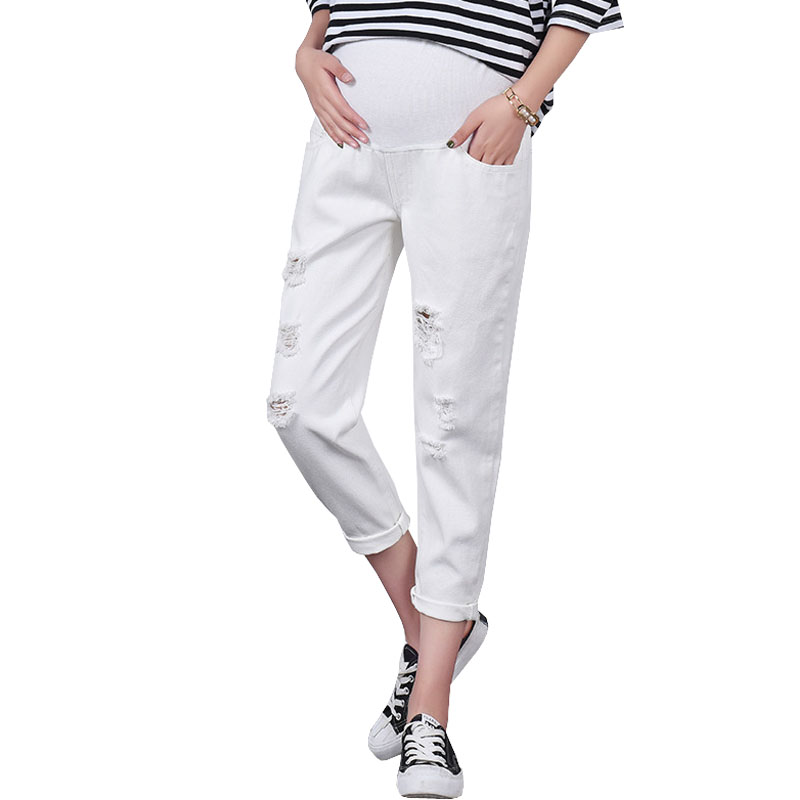 White Hole Denim Maternity Jeans Prop Be