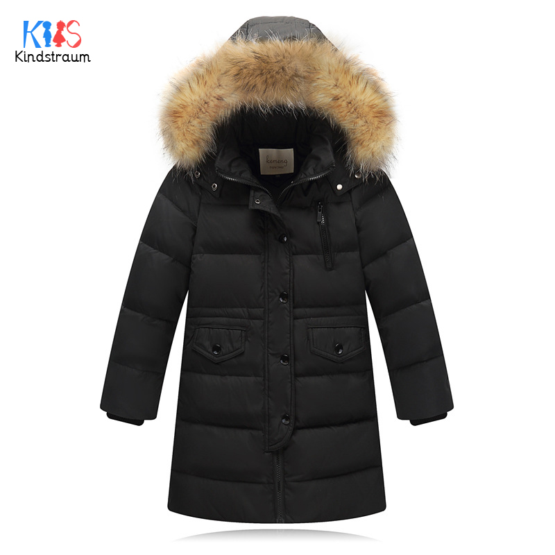Kindstraum 2018 New Arrival Kids Thick Down Parkas Girls Fur Hooded Coats Winter Pockets Clothes for Boys,RC1601