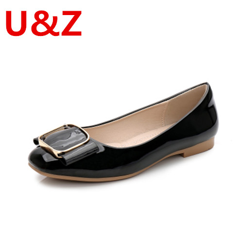 Lovely round toe Pregnant shoes,Black/Beige/Red/Pink patent Leather golden buckle ballet flats Ladies Soft & anti skid Loafers summer slip ons 45 46 9 women shoes for dancing pointed toe flats ballet ladies loafers soft sole low top gold silver black pink