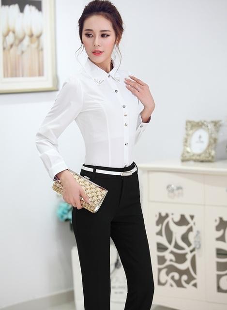 Estilo Uniforme Pantsuits formales Mujeres Trabajan Trajes de Negocios Tops Y Pantalones 2015 Primavera Otoño Damas Profesionales Pantalones Conjuntos