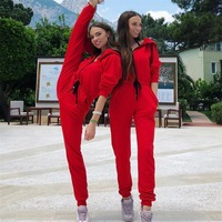 GXQIL Sport Jumpsuits Woman Sportswear 2018 Fitness Overalls Sport Suit Women Tracksuit Winter Autumn Gym Clothing Female Red S