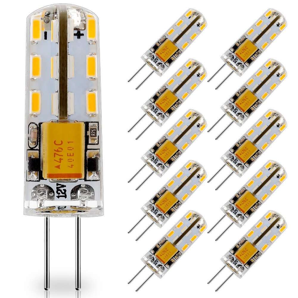 10 Pack G4 LED Light bulb 12V AC DC LED G4 Lamp 24LED Replace 10W T3 JC Halogen Bulbs Warm White 3000K Natural White 4000K 6000K