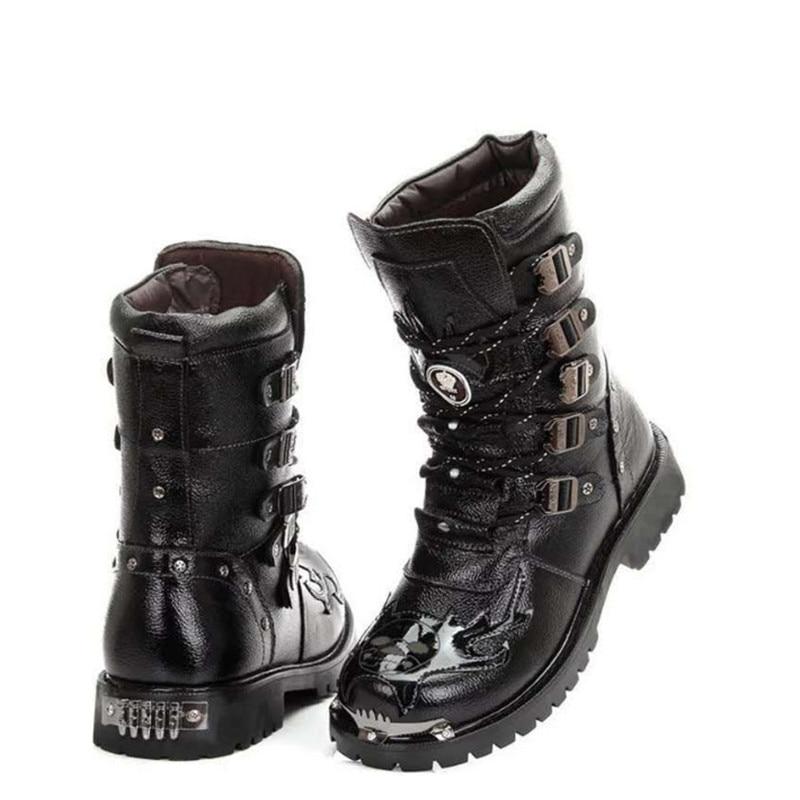 Dos Sapatas Moda Militar Meados Crânio Sapatos 44 Homens Bezerro 39 Botas De Pele Inverno Quente Black Metal Motociclista Pu qaCzTH