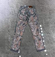 2019 Весна и лето новые женские ногти ручной работы блестящие бусины бойфренд рваные джинсы 0611