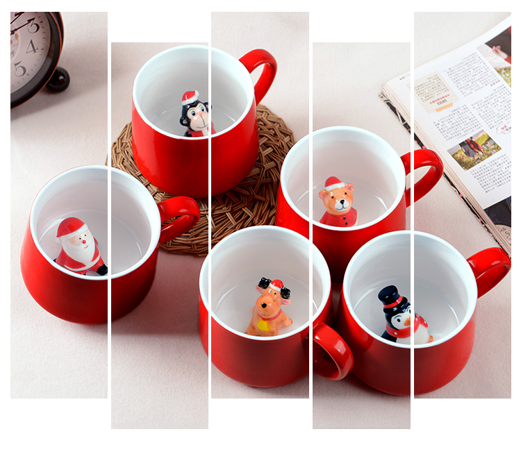 1pc 400ml red mug ceramic christmas mug <font><b>inside</b></font> with santa snowman deer 3D animal cute christmas coffee <font><b>cup</b></font> christmas decor gifts
