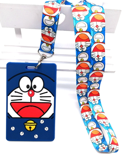 New  Retail 1 Pcs  Soft Silicone Anime Doraemon  Sign Card ID Holder  With Hanging String Keychain T45