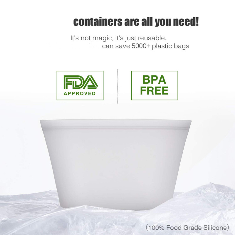 3 pçs silicone recipientes de armazenamento de alimentos zip topo leakproof tigelas frescas reutilizáveis levantam-se fechos sacos frutas vegetais copos selados