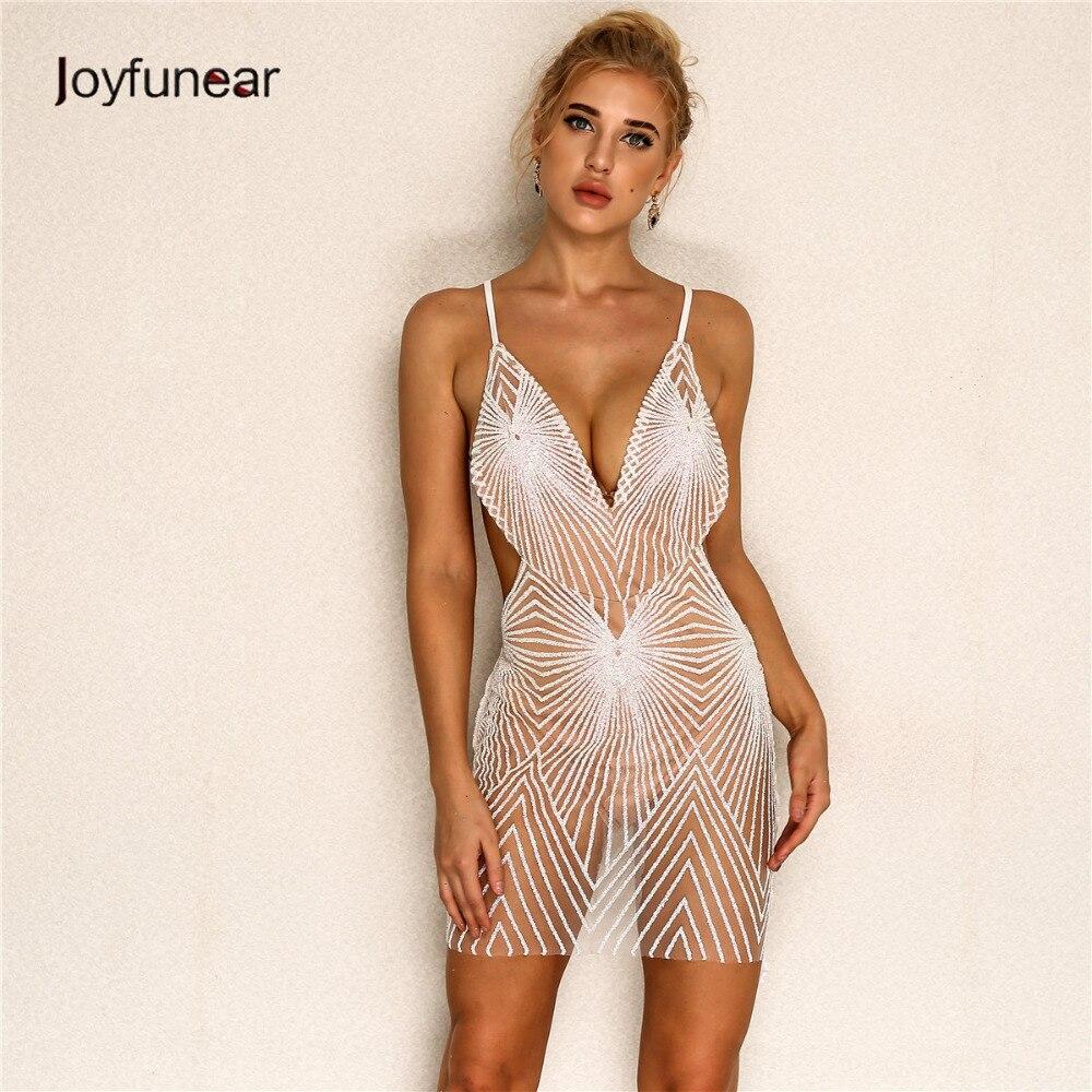 Joyfunear 2019 New Summer Sexy Dress Women Sequin Strap V Neck Mini Dress Backless Bodycon Elegent Dresses Woman Vestidos