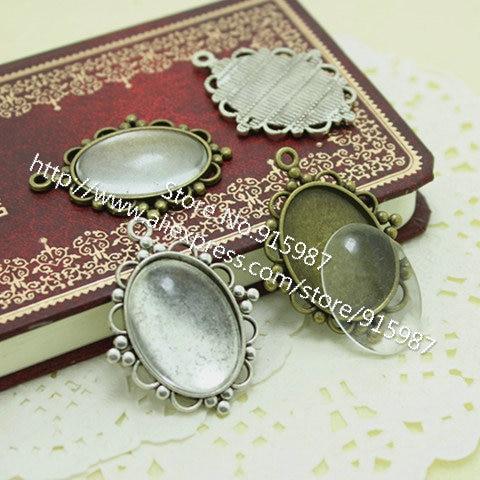 5//8//10pc Glass Cabochon Pendant Clear Cameo Flatbacks Jewelry Setting 20-30mm