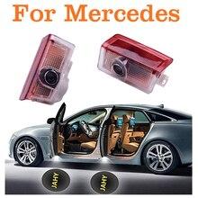 4 PC 12V LED รถประตูเลเซอร์โปรเจคเตอร์โลโก้สัญลักษณ์ Welcome SHADOW สำหรับ Mercedes/Benz W212 W176 4 MATIC E B C ML GL Class