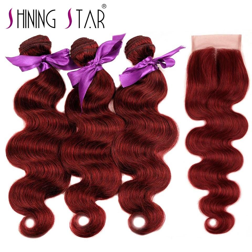 Bourgogne 3 Bundles Avec Fermeture 99J Rouge Vague de Corps Cheveux Brésiliens Armure Faisceau de Cheveux Humains Avec Fermeture Cheveux Brillants Étoile nonRemy