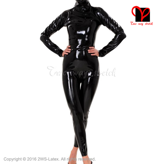 Sexy Latex Cat font b Suit b font hood open mouth eyes nose Latex Catsuit Rubber