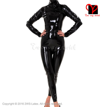 Sexy Latex Cat Suit hood open mouth eyes nose Latex Catsuit  Rubber catsuit Gummi overall zentai body suit mask plus size XXXL
