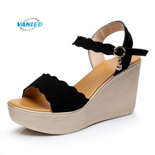 Light Comfortable Women Shoes Wedge Sandals 2018 New Elegant Wild Fish Head  High-heeled Sandals Big Size Summer Women Sandals 607cc385708b