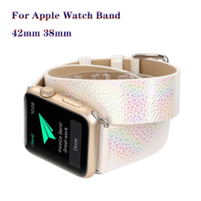 Genuine Leather Double Circle Bracelet Strap Flash Fish-Scale Pattern for Apple watch 42/38mm Wristband iwatch series 3 2 1