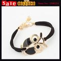 2017 Statement  Gold Plated Animal Owl Decoration Faux Leather Charm Enamel Opal Bracelet Bangle for Women Man Jewelry Gift