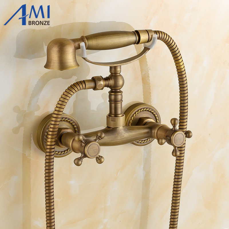 Antique Brushed Brass faucets bathroom bathtub mixer tap faucet with telephone hand shower set Bath & Shower Faucets free shipping polished chrome finish new wall mounted waterfall bathroom bathtub handheld shower tap mixer faucet yt 5333