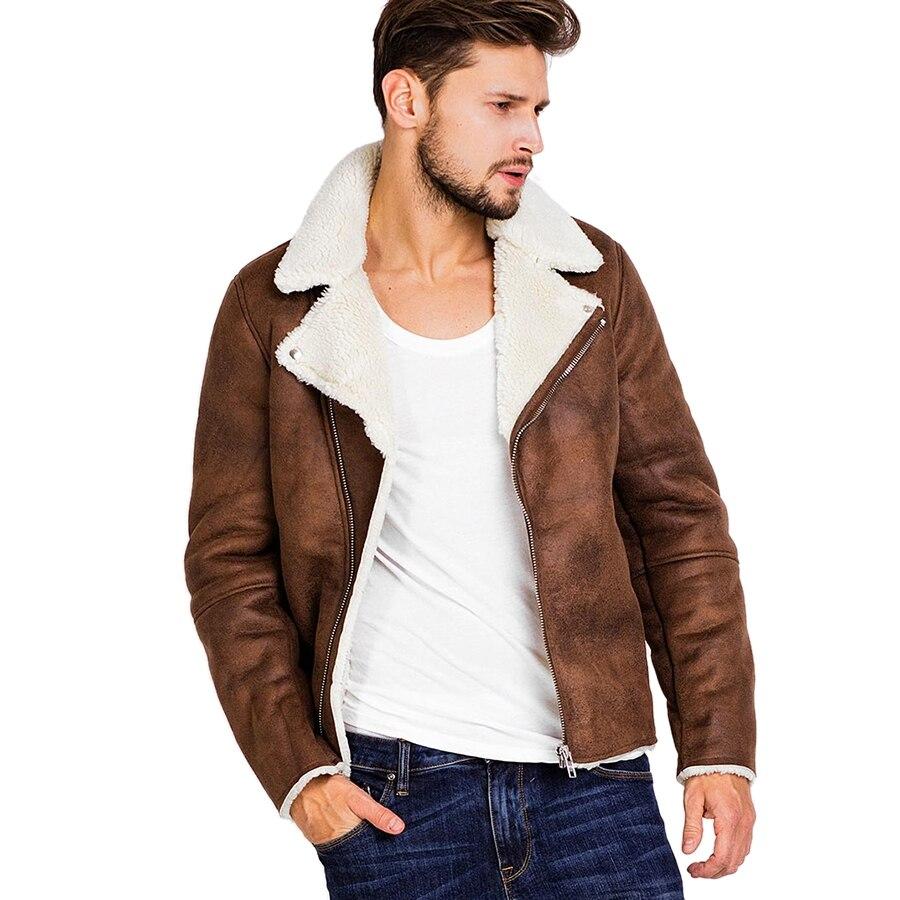 Faux Fur Collar Faux Leather Jacket Men Winter Brown Suede Jacket Fleece Warm Bomber Coats Male Outwear Pocket 3XL Side Zipper Куртка