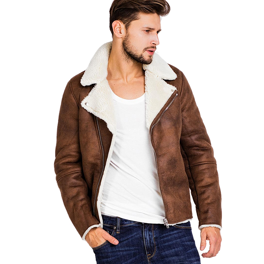Faux Fur Collar Faux Leather Jacket Men Winter Brown Suede Jacket Fleece Warm Bomber Coats Male Outwear Pocket 3XL Side Zipper
