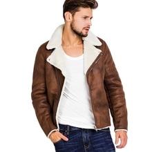 Faux Fur Collar Faux Leather Jacket Men Winter Brown Suede Jacket Fleece Warm Bomber Coats Male Outwear Pocket 3XL Side Zipper