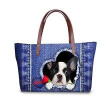 Fashion Women Shoulder Bags Big Handbags Blue Jeans Cute Cat Dog 3D Printing Ladies Shopping Bag Female Bolsa Feminina цена 2017