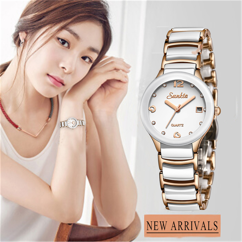 Quartz Women Watches SUNKTA2019New Fashion Waterproof Ceramic Bracelet Wristband Watch Girl Clock Relogio Feminino