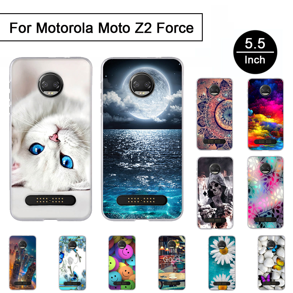 TPU Cover For <font><b>Motorola</b></font> Moto Z2 Force Soft Silicon Case Back <font><b>Phone</b></font> Cases For Moto Z2 Force 5.5 inch Cartoon Painted Pattern Shell