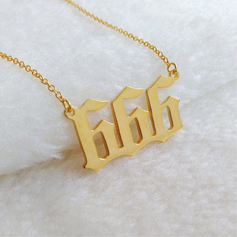 Custom name jewelry statement personalized 666 english number custom name jewelry statement personalized 666 english number pendant necklace for women gold color bff game gift happy new year in pendant necklaces from aloadofball Image collections