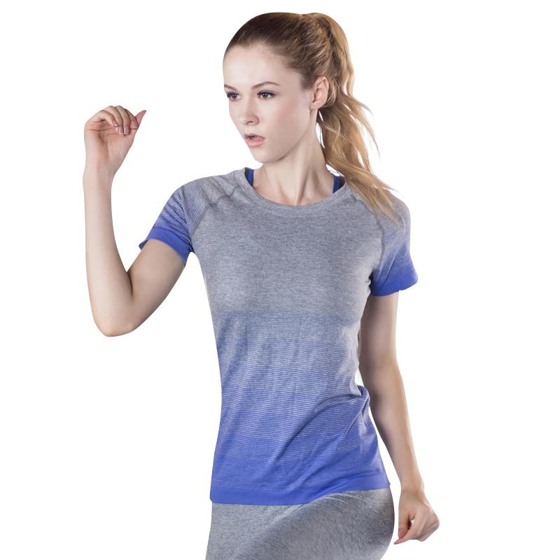 717741c7db Sport felső női jóga ing fitness ruhák futó tornaterem rövid ujjú ...