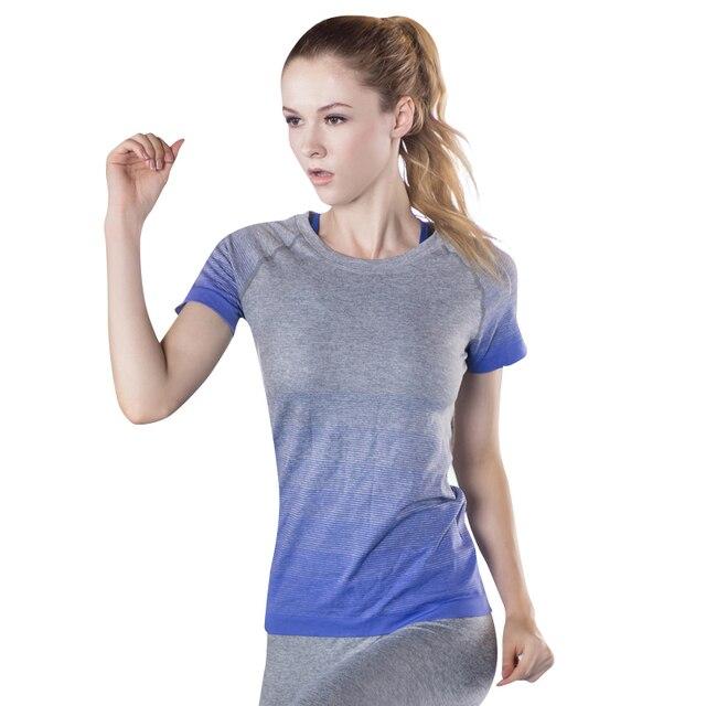 5f74382cd109a9 Sport Top damska koszulka do jogi odzież fitness do biegania siłownia  koszula z krótkim rękawem oddychające