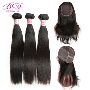 BD HAIR 360 Lace Frontal Closure with Bundles Peruvian Straight Human Hair Remy Weaves Frontal With Cap Natural Color image